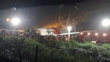 سقوط هواپیمای هند و دوتکه شدن آن روی باند